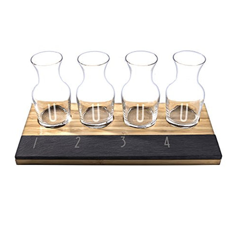 Cathy's Concepts Personalized Bamboo & Slate Wine Tasting Flight, Letter U