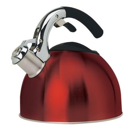 Primula Soft-Grip 3-Quart Stainless Steel Whistling Tea Kettle, Red