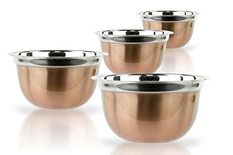 4 Pcs High Quality Stainless Steel Mixing Bowls Set - Set of 4 German Mixing Bowls Cookware Set (Copper Finish)