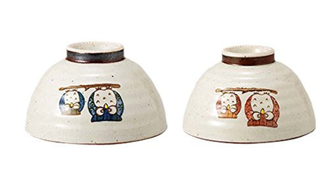 Saikai Pottery Pair Owl Japanese Bowl for rice M size 38847 and L size 38846 Two bowls set!! from Japan