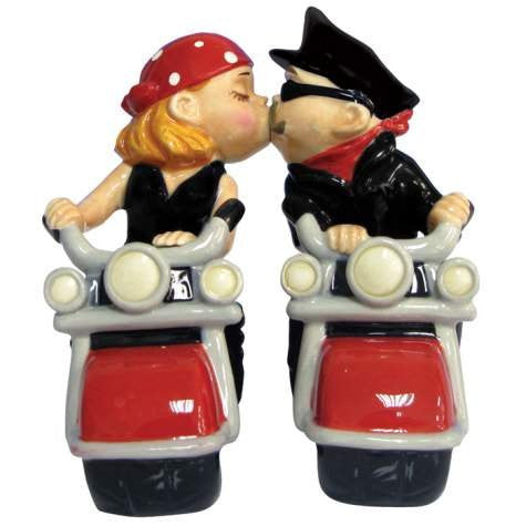 4.5 Inch Kitchenware Biker Couple Romantic Salt and Pepper Shakers