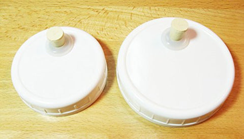 1 QRP Mason Jar Drinking / Fermentation Lids Caps Food Grade w/installed Grommets, Seals & Stoppers (1 WIDE MOUTH)