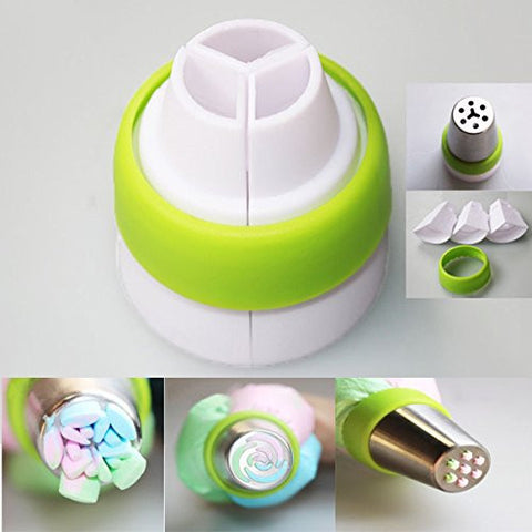 Yosoo Swirl 3 Color Coupler Decorating Tool Cake Tools Cupcake Fondant Cookie Cutters Icing Piping Cream Pastry Decorating Bag Nozzle Converter (1, Green)
