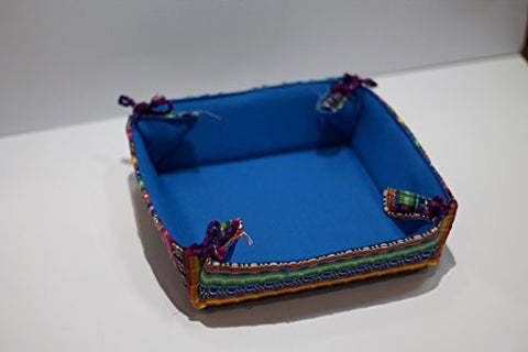 Beautiful Guatemalan Handwoven Bread Basket with Mayan Design