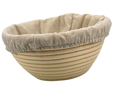 7 Inch Round Brotform Banneton Proofing Basket Bread Bowl for Baking Dough with Rising Pattern for Individual Bread Small Cute (Bonus Linen Cover)