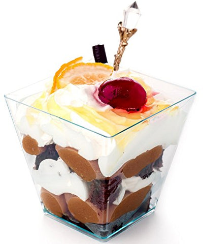 Premium Square Plastic Mini Dessert Cup ( 2 oz ) Made from Durable Crystal Clear Plastic Parfait & Appetizer (500)
