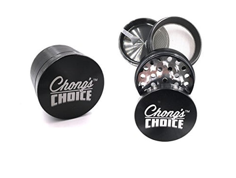 Chong's Choice Compact Herb Grinder Premium 2.5 Inch Herb 4 Part Grinder with Pollen Catcher (Black)