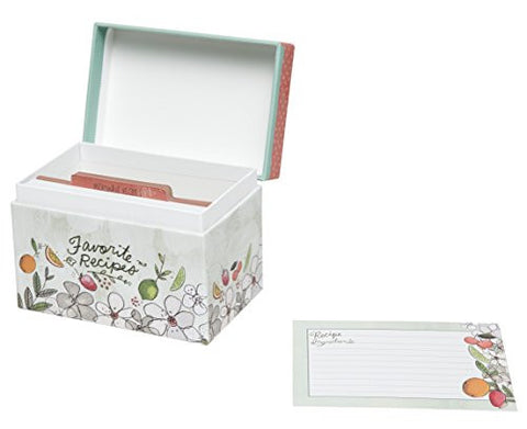 "C.R. Gibson Colorful Patterned Recipe File Box, Includes 12 Tabbed Divider Cards, With 40 Coordinating 4"" x 6"" Recipe Cards - Fruit Fusion"