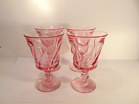 "6"" tall x 3"" deep Antique Pink Crystal Goblets, Set of 4"
