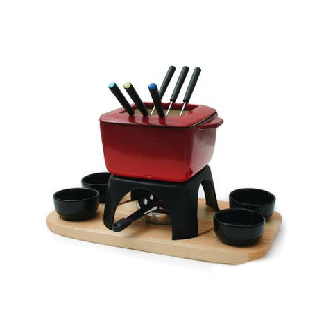 Swissmar Mont Blanc 15 Piece Meat Fondue Set, Red
