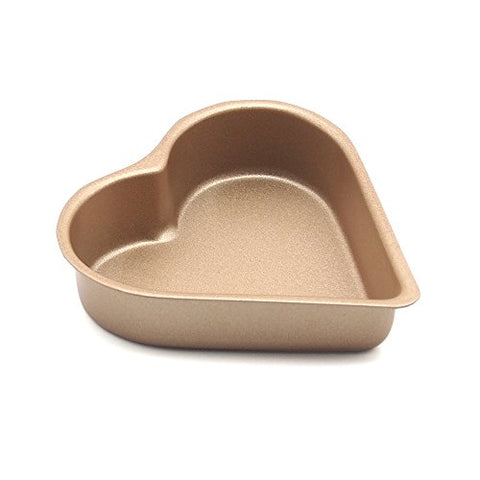 MZCH Non-stick Heart Shaped Cake Pan for Pies Cheesecakes Bread Jelly Pudding , Gold , 3.5 inches