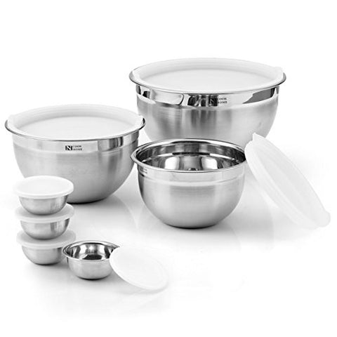14-Piece Stainless Steel Mixing Bowl Set with Sunk-in Lid