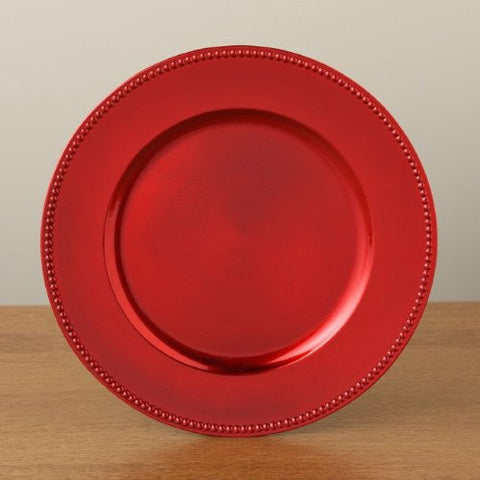 The Christmas Boutique Elegant Red Beaded Charger Plate