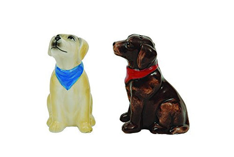Creative Co-Op Ceramic Labrador Dogs Salt and Pepper Shakers Set, Multicolor