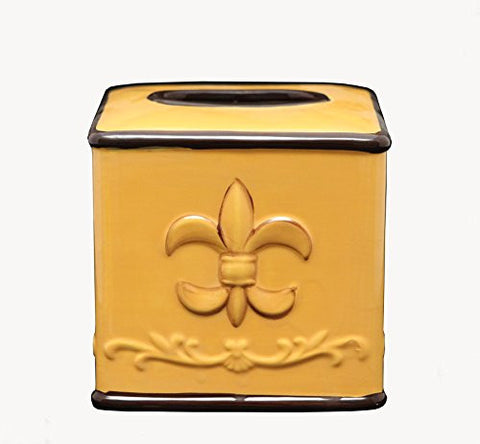 Tuscany Colorful Hand Painted Fleur De Lis Design **Get the Entire Collection** (TISSUE BOX COVER)