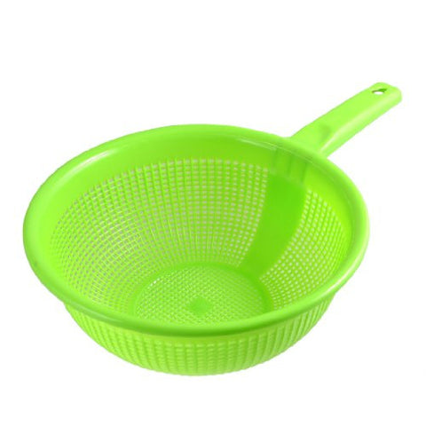 uxcell Plastic Long Handle Rice Colander Strainer Filter Green