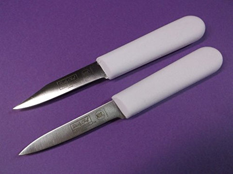 Restaurant Kitchen Set of (2) Paring Knives (1) Sheeps Foot Point and (1) Spear Point - White 'Sani' Handle - Pro Commercial A+ Quality