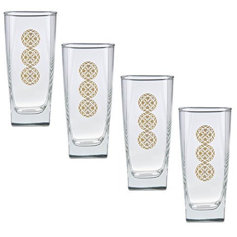 Frank Lloyd Wright Limited Edition (Prism Medallions Design) Gold 22k Cooler Glass 16-Ounce Set of 4