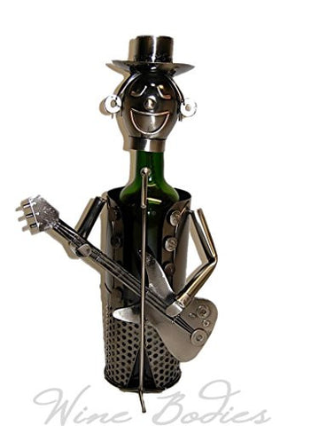 Guitarist Metal Wine Bottle Holder High Quality Hand Made Caddy