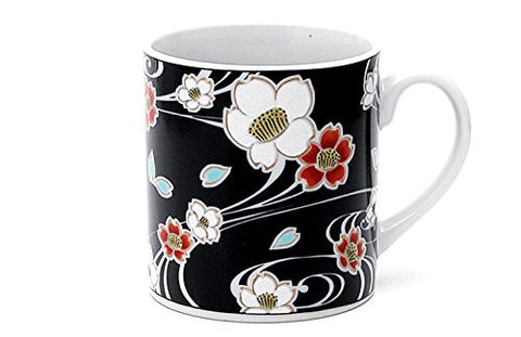 Kutani Pottery Ground Running Water Cherry Blossoms Mug Cup From Japan Sk-240