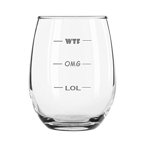 WTF OMG LOL Funny 11-Ounce Engraved Wine Glass Amazing For Birthday Wedding Christmas Any Occasion Gift (Stemless)