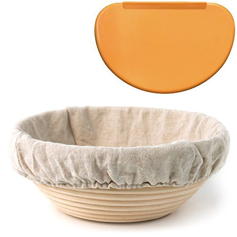 "Banneton Proofing Basket 8.5"" Round - with Cloth Liner and FREE Flexible Bowl Scraper for Shaping Dough 