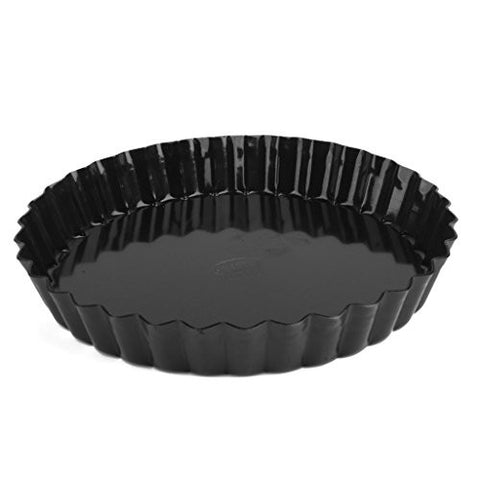 Base Pie Tart Quiche - SODIAL(R)Round Aluminum Alloy Non Stick Loose Base Pie Tart Quiche Tin Black (8 Inch)