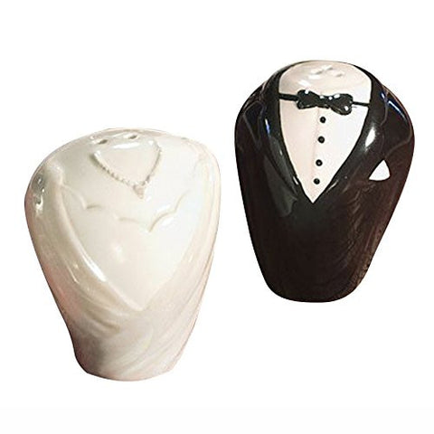Wedding Salt and Pepper Set - SODIAL(R)Wedding Gown and Tuxedo Ceramic Salt and Pepper Set Wedding Favors Patry - White and Black