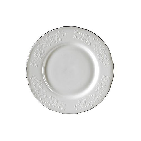 10 Strawberry Street VINE-4SL6 Vine Line Salad/Dessert Plate, Set of 6, White/Silver