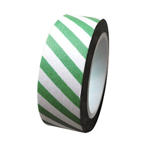 Dress My Cupcake DMC41WTMC689 Washi Decorative Tape for Gifts and Favors, Kelly Green Stripes on White