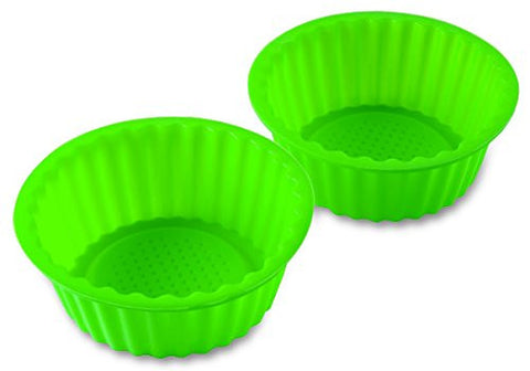 "2 Pack 6""Green Color Silicone Baking Pan, Ideal For Cake, Muffin, Cupcake, Brownie And Cornbread Mold Pan. Non-Stick Surface And Heat Resistant - By Kitch N' Wares"