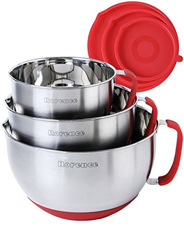 Rorence Stainless Steel Non-Slip Mixing Bowls With Pour Spout, Handle and Lid, Set of 3, Red