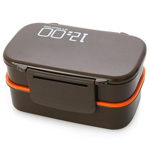 Lunch Time Japan style Double Tier Bento Lunch Box 4 Color Large Meal Box Tableware Microwave Dinnerware Set (Coffee) (Brown)