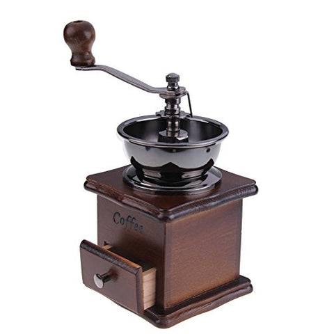 WinnerEco Mini Manual Coffee Mill Wood Stand Bowl Antique Hand Coffee Bean Grinder