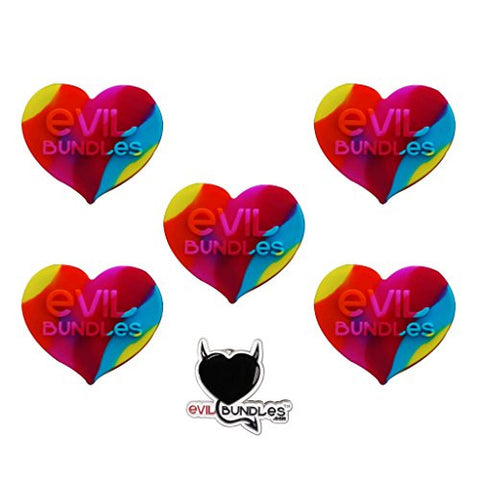 5 Evil Bundles Silicone Concentrate Wax Oil Non Stick Heart Jar Container (Rainbow) FREE PIN