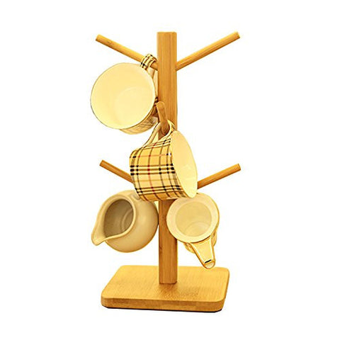 Oak-Pine Wooden Removable Tea Cups Tree Storage Holder Rack Bamboo Coffee Mugs Organizers Drying Hanging Stand with 6 Hooks