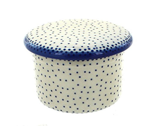 Polish Pottery Small Dots French Butter Dish