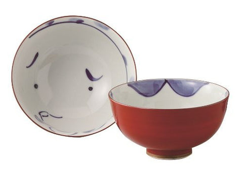 [2 bowls set!!!] Saikai Pottery Japanese Rice Bowl Hyottoko (clownish mask) and Okame (plain-looking woman) Blue & Red 52367 from Japan