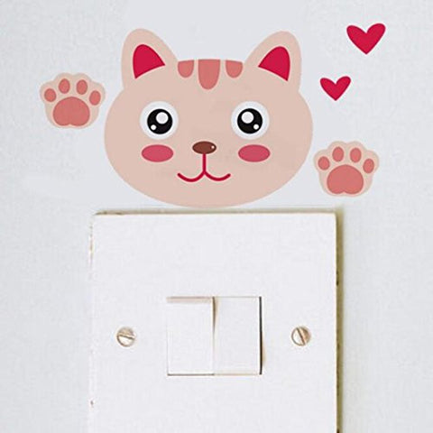 PHOTNO New Cute animal Wall Stickers Light Switch Decor Decals Art Mural