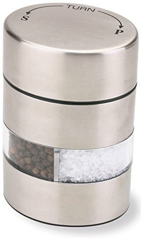 "Olde Thompson 4"" Stainless Steel Pepper Mill and Salt Mill 2-in-1 Combo"