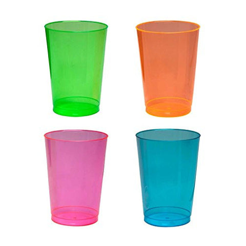 Party Essentials N105090 Brights Plastic Party Cups/Tumblers, 10-Ounce Capacity, Assorted Neon (Case of 600)