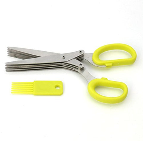 GXHUANG Multipurpose Herb Scissors 5-layers Scissors Stainless Steel Blades with Cleaning Comb for Kithen and Office