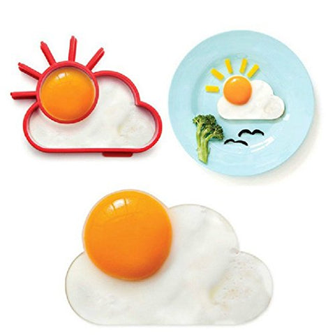 Grandey 2pcs Breakfast Creative Silicone Cute Sun Cloud Egg Mold Fried Egg Mold Pancake Mold Kids Diy cooking tools