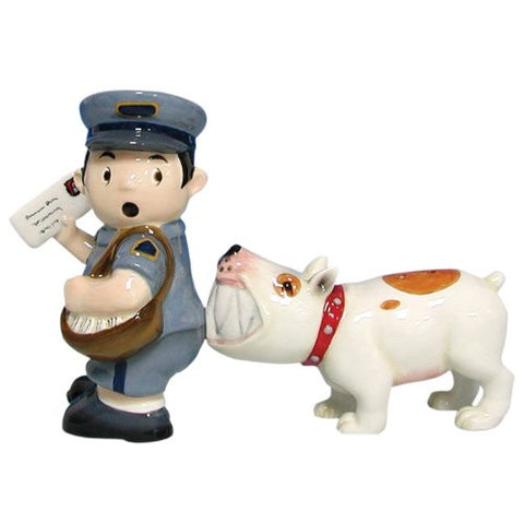 Westland Giftware Mwah Magnetic Mailman and Dog Salt and Pepper Shaker Set, 3-3/4-Inch