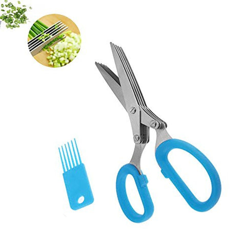 ProCIV Herb Scissors - Stylish Kitchen Shear - Multipurpose gadgets with 5 Multi Blades and Cleaning Comb - Heavy Duty Stainless Steel - Chopper Cutter Fresh and Dry Herbs (Blue)