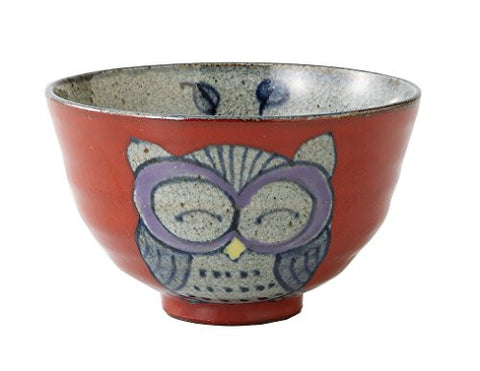 Saikai Pottery Owl Japanese Rice Bowl S size Red 83971 from Japan