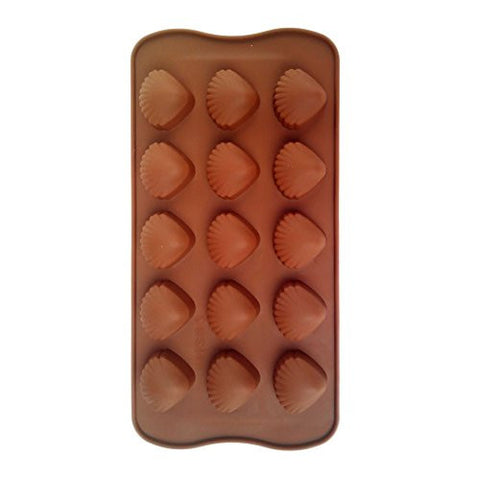 Xiangfeigao 15 Pieces Of Shell Shape Handmade Chocolate, Candy, Pizza, Cake Baking Mold Picture Color