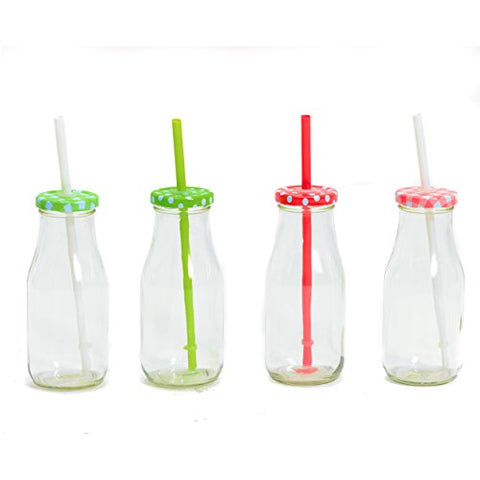 The Farm Fair Milk Jars Drinking Cups, Lids, and Reusable Straws, Set of 4, Rustic Multi-Color Tops, (10.8 fluid ounces/ 320 ml) Bottle Style by Whole House Worlds