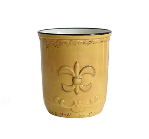 Tuscany Colorful Hand Painted Fleur De Lis **COLLECTION** By ACK (Yellow Utensil Jar)