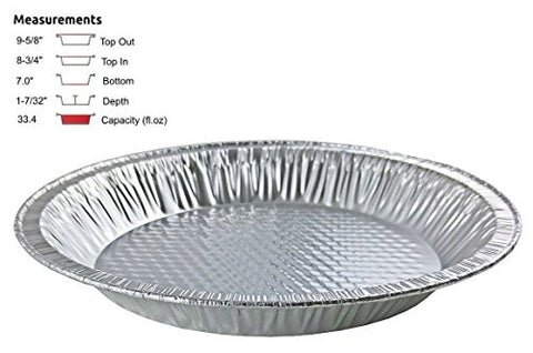 "Handi-Foil 10"" (Actual Top-Out 9-5/8 Inches - Top-In 8-3/4 Inches) Aluminum Foil Pie Pan - Disposable Baking Tin Plates (12)"